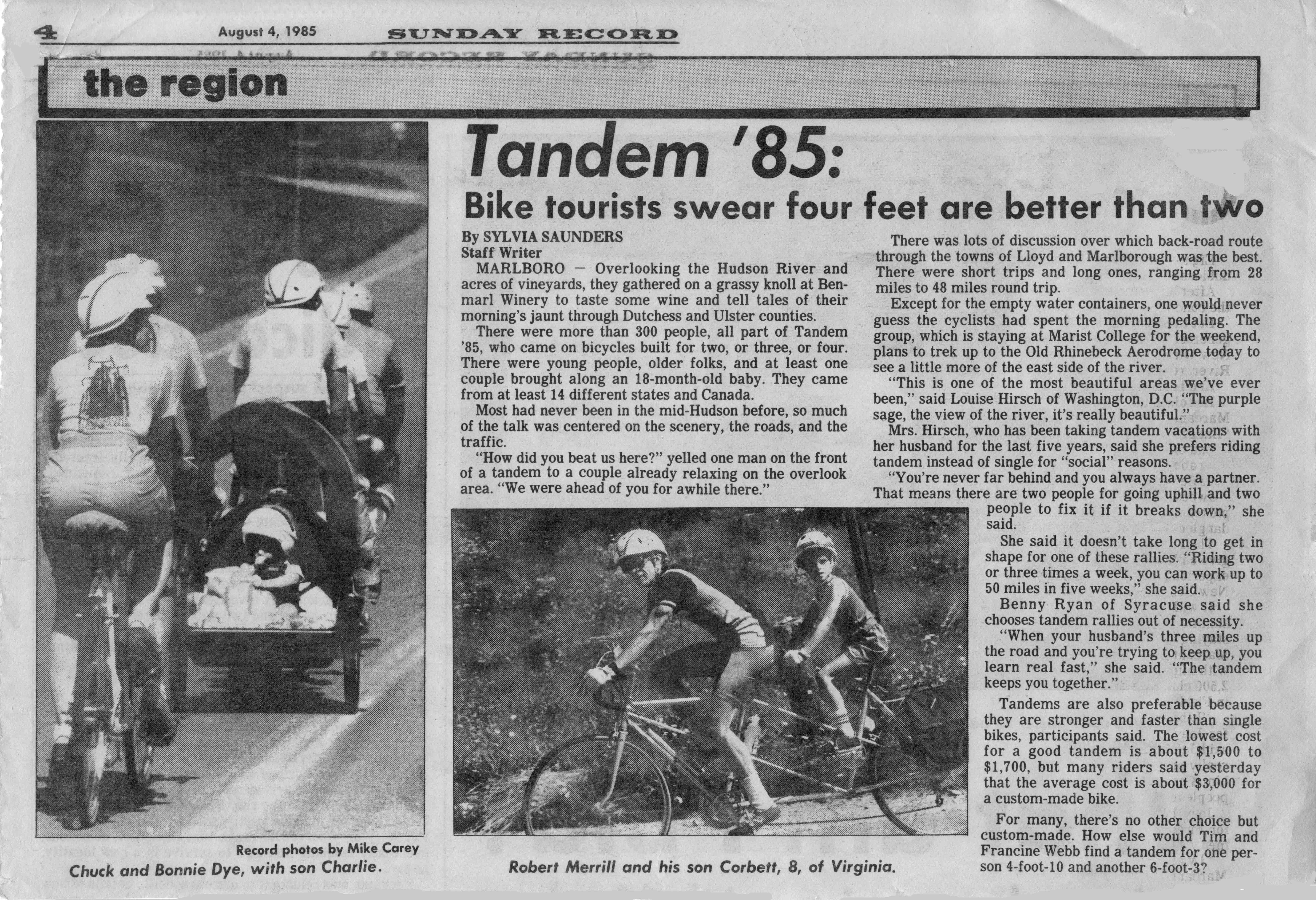 Marlborough Sunday Record, August 4, 1985 - Coverage of ETR '85